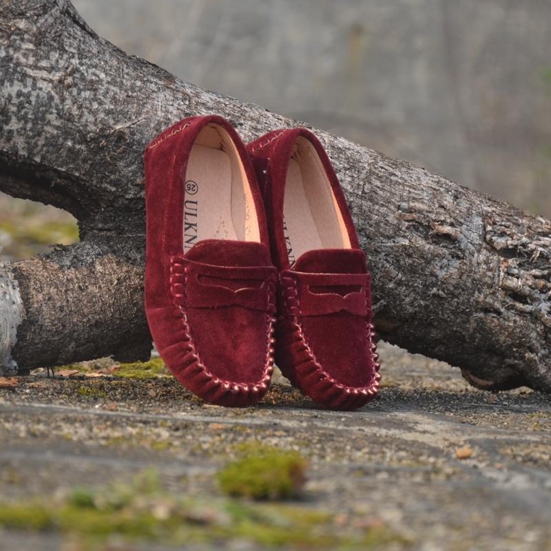 Kinderschuhe Leder Pelzschuhe für Mädchen 7 Farben Große Größe Neue Mode Kinder Erbsen Schuhe Casual Jungs Wanderung Hohe Qualität 201118