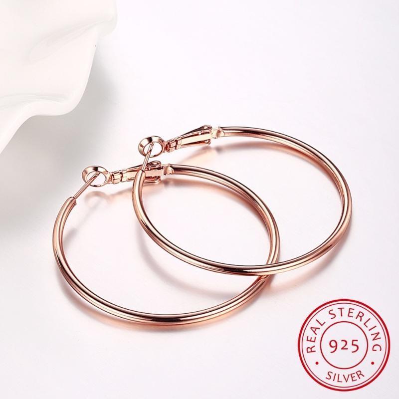 Hoop Huggie Gelb oder Rose Gold / Silber Rundschleife Große Große Kreis Kreole Ohrringe für Frauen Mädchen Fine Schmuck Pendientes AROS GIF