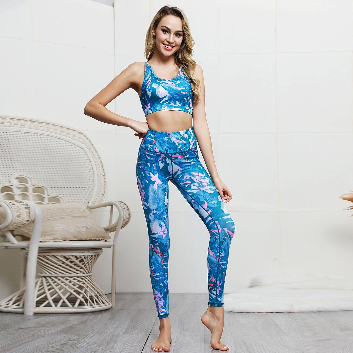 Drucken Frauen Yoga Sets Gym Fitness-Sets Schönheit zurück Sport-BHs High Waist-fester Anzug Workout Laufsport