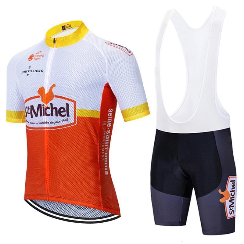 EQUIPE St Michel calções de ciclismo jersey de bicicleta atender 20D Ropa Ciclismo mens verão rápida secar PRO bicicleta Maillot roupas Pants