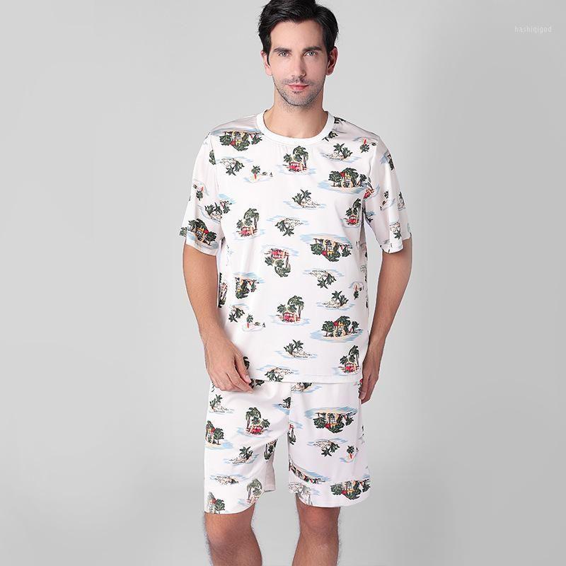 Seda liso Satén Pijama Set Hombres Coco Coco Lámina Soft Mens Sleepwear Pijama Hombre Ocio Cozy Pijamas Pareja Pijamas XXL1