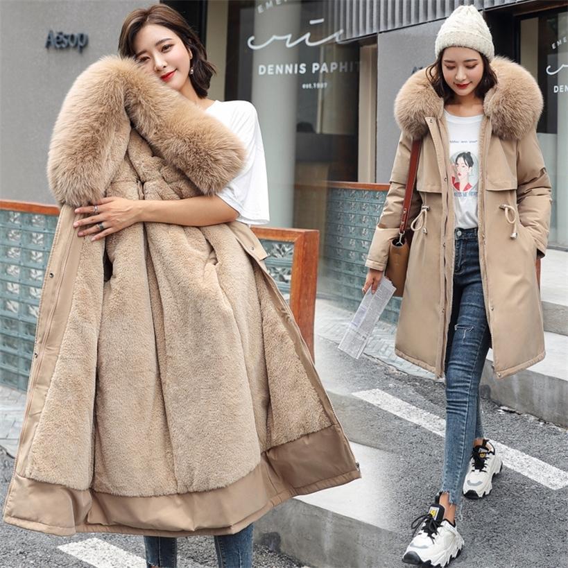 Kadın Pamuk Astar Parka Kış Ceket Kürk Yaka ve Ayarlanabilir Bel Uzun Kapüşonlu Ceket Ile 201210