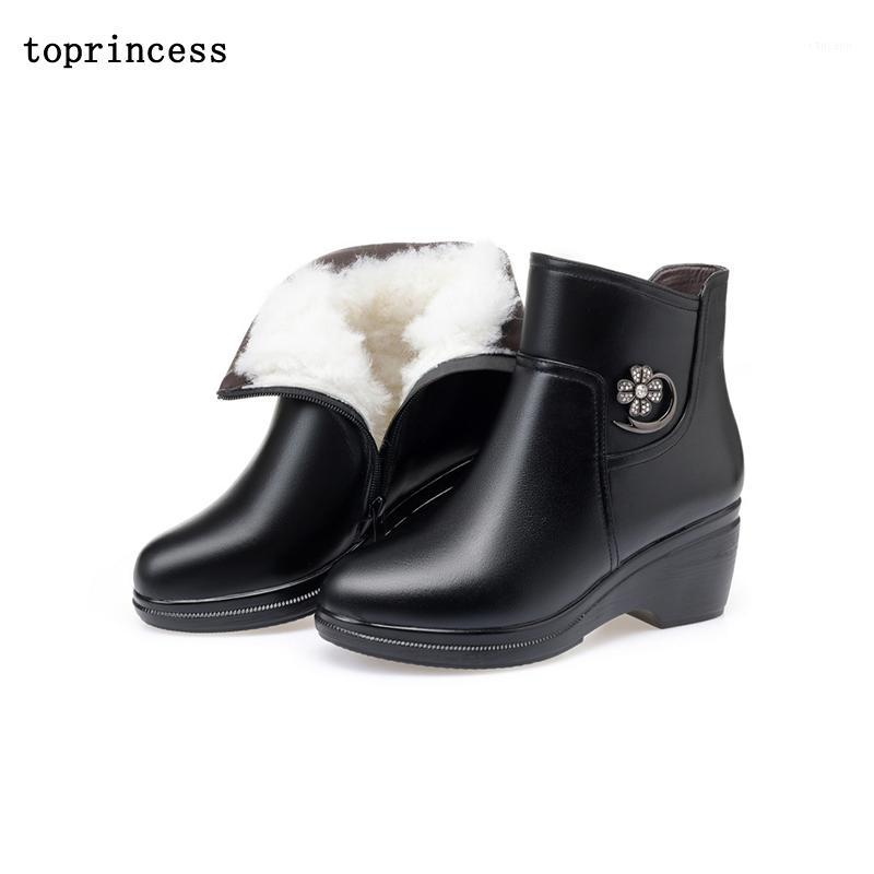 BN03 TOPRINCESS Round Toe Platform Boots For Women Chunky Heel Leather Winter Fall Ankle Boots 2020 Fashion Warm Platform1