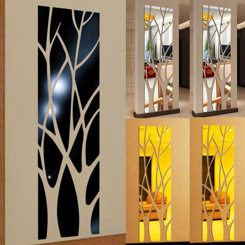 3D Ağacı Tasarım Ayna Çıkartmalar Modern Ev Oturma Odası Yatak Odası Dekor Akrilik Kendinden Yapışkanlı Çıkarılabilir DIY Sanat Çıkartması Duvar Duvar Sticker
