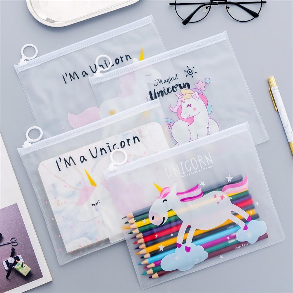 Unicornio lindo transparente Scrub cosmética de maquillaje bolsas de viaje de las señoras Caso Maquillaje Organizador bolsa de almacenamiento de tocador de las mujeres Kits de Lavado