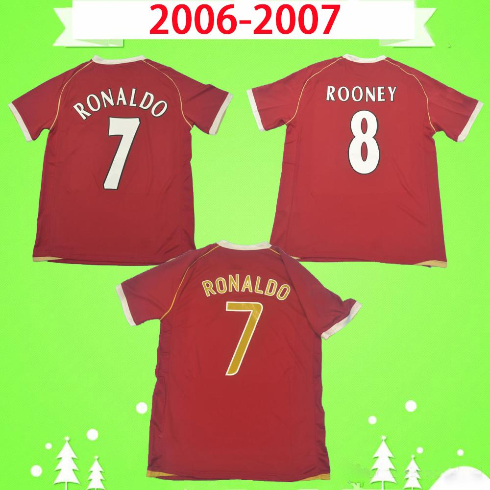 Manchester United soccer jersey man utd # 7 RONALDO # 8 ROONEY # 11 GIGGS 2006 2007 맨체스터 06 07 유니폼 레트로 축구 유니폼 축구 클래식 기념 골동품 컬렉션