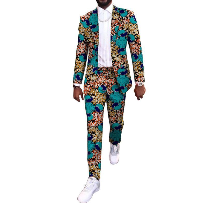 새로운 도착 아프리카 파티는 사용자 정의 캐주얼 망 바지 정장 블레이저 패치 바지 앙카라 패션 남성 웨딩 의류 W1217