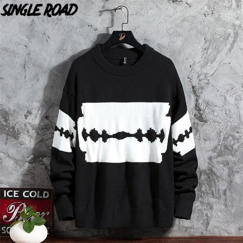 Singleroad de gran tamaño para hombre de punto suéter de punto para hombres suéteres de remiendo jersey hip hop Harajuku tops coreanos suéter negro hombres 201105
