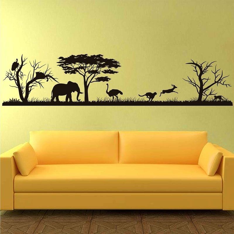Safari African Wall Decal Bosque Silueta Vinyl Pegatinas Decoración para el hogar Muro de animales Vinyl Nursery Decor Jungle Safari Africa 3119 201208