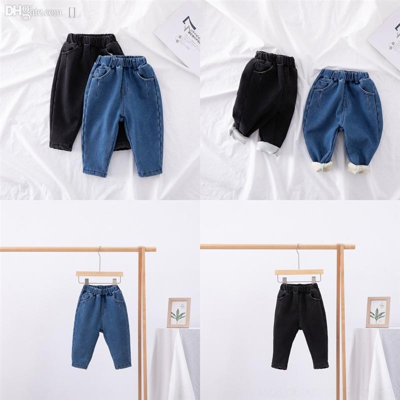Don2q Nuovo stile Bambini Jeans Jeans Fashion Girls Pantaloni Addensare Autunno Boys Designer Bambini Denim Casual Tenere caldo Aggiungi velluto per jeans strappati