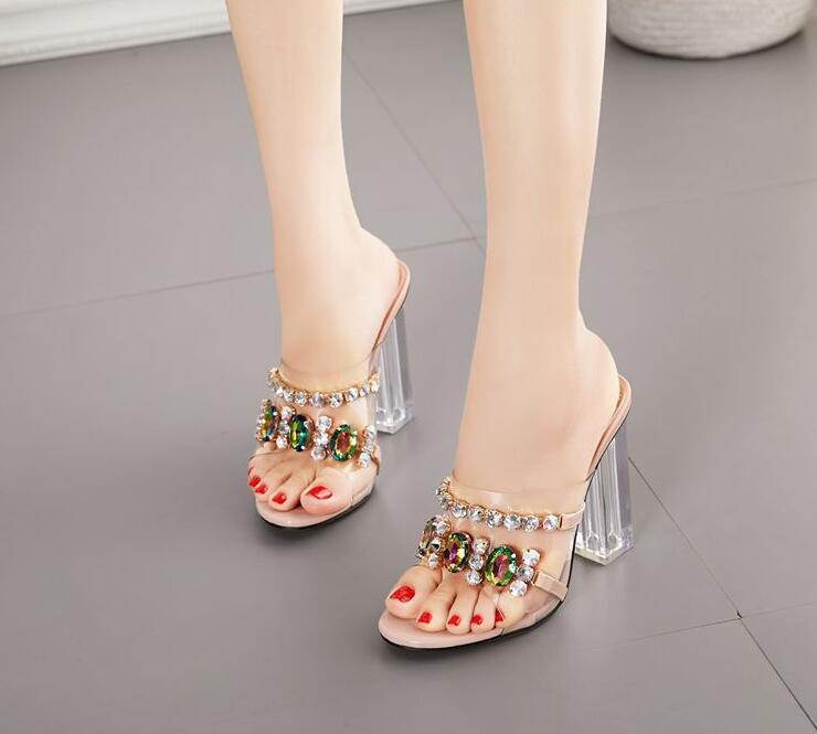 European and sandal American cross-border ladies slippers 35-42 size transparent rhinestone thick high-heel fashion shoes00009