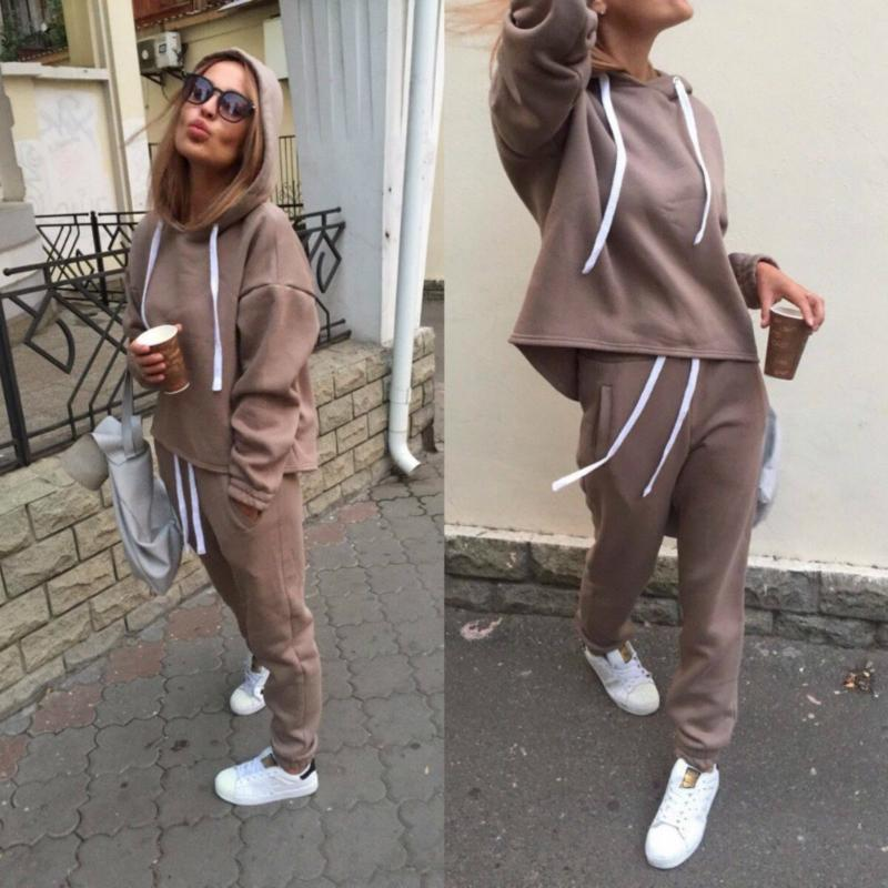 2020 Yeni Moda Eşofman Uzun Kollu Kalınlaşmak Kapşonlu Sweatshirt 2 Piece Set Casual Spor Suit Kadın Eşofman Takımı CA6983 X0923