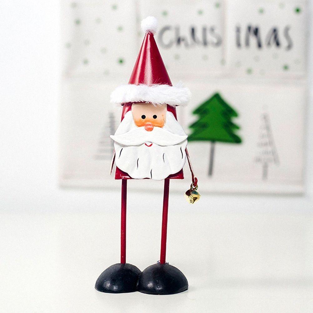 Tabella portatile di Natale metallo Art Bar regalo Elk Office Home della bambola sveglia il suono della Bell Old Man Snowman UPsx #