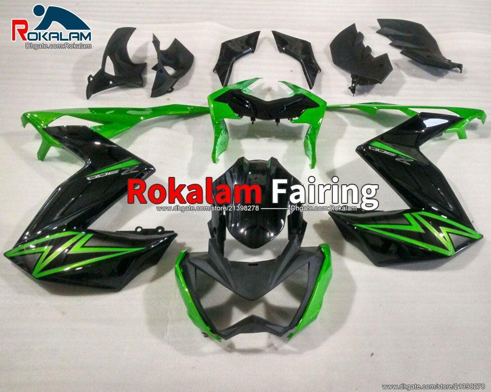 Para Kawasaki Z250 2015 2016 Z 250 Z300 15 16 Z 300 Green Black Motorcycle Fairing Set Cowling (moldeo por inyección)