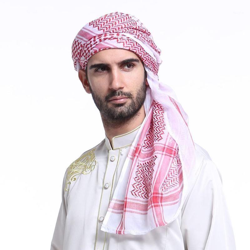 Этническая одежда 140 * 140 см Мусульманские колпачки Мужчины молитвенные шляпы Саудовская Аравия мужская шарф шаль-шаль Islam Turban Head Wraps Hotte Bandana Turbante Bon