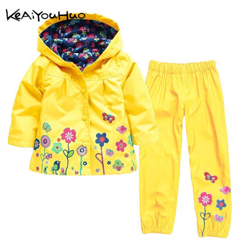 KEAIYOUHUO Herbst-Winter-Kinderkleidung Windschutz Wasserdichte Junge Sets Regenjacke Jacken + Hose-Mädchen-Sport-Klage-Kinder Kleidung C1012