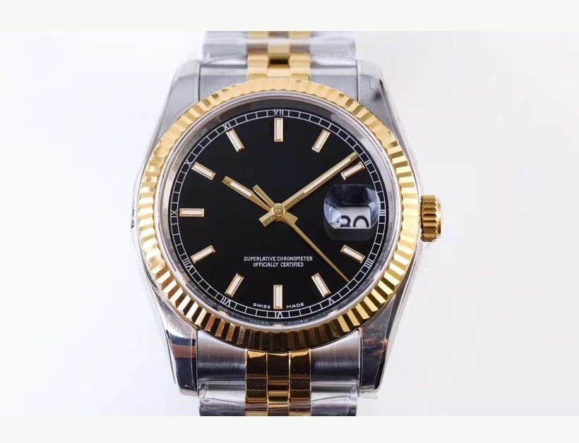최고의 베스트 아르 v3 904L 스틸 Datejust 남자 시계 36mm 두 톤 진짜 황금 금은 다이얼 다이얼 ETA 3135 무브먼트 방수 Jubilee 팔찌 시계