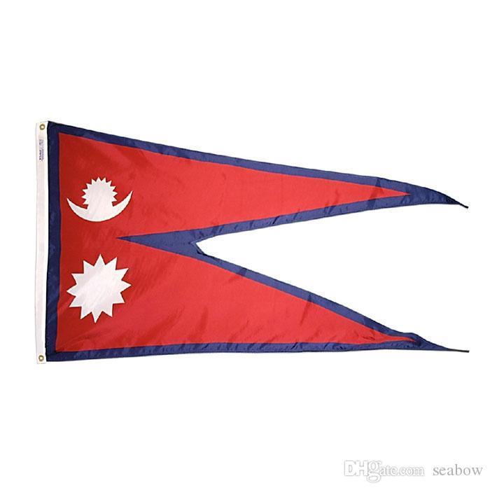 Presente da bandeira de Nepal de alta qualidade 3x5 FT Partido Nacional Bandeira 90x150cm Festival 100D Poliéster Indoor Bandeiras e banners impressos Outdoor