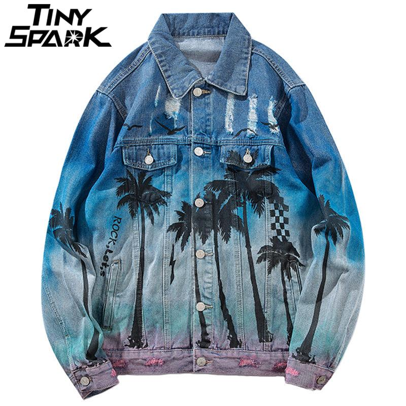 Denim Vintage Bomber Jacket Holes Ripped Mar Praia Coqueiro Homens Hip Hop Jeans Jacket Streetwear 2020 Distressed Denim C1108 Jacket
