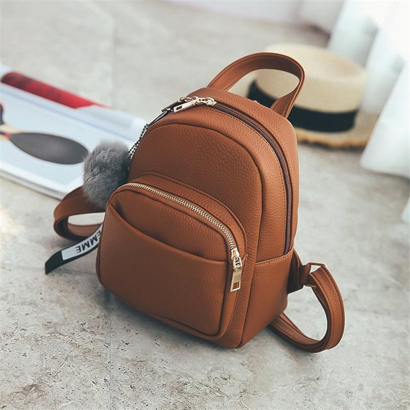 Mini Leather Soft Pu Fuzzy Fashion Backpacks Students Shoulder Ball Pendant Bags Schoolbags Miyahouse Small Travel Women Mochila Cmocs