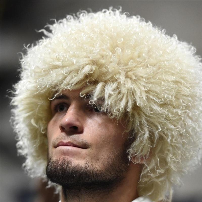 Bravalucia أزياء نمط ريال فراء الخروف الرجال قبعات UFC للالانتحاري النسر Khabib الروسية الشتاء الصياد الفراء الطبيعي Ushanka 201109