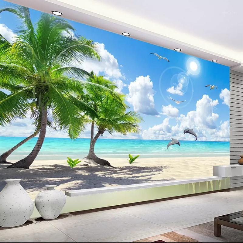 Custom 3D Mural Wallpaper Non-woven Bedroom TV Background Fresco HD Coconut Tree Beach Dolphin Landscape Photo Wall Paper Roll1