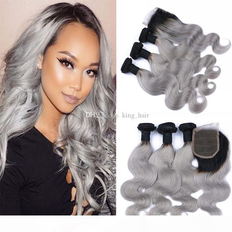 Paquetes de pelo de onda corporal de Ombre con cierre de cabello virgen brasileño raíz oscura # 1b trama de pelo gris con cierre 4x4 4pcs lote