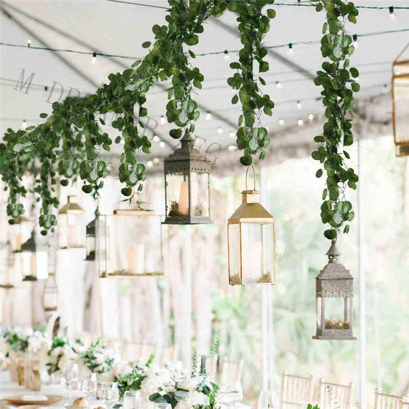 Contexto de la boda densa hoja artificial eucalipto Garland imitación de seda hojas de eucalipto Vine Garland Verde arco decoración de la pared EEC2873