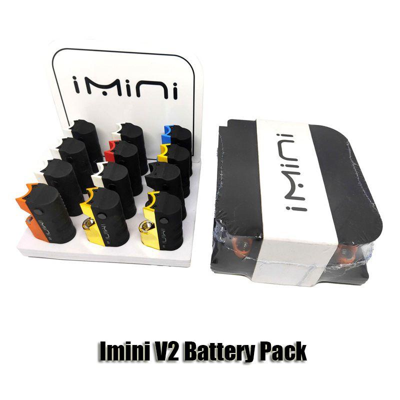 Pacco batteria IMINI V2 originale in scatola di visualizzazione di 12CT 650mAh Preheat VV Tensione VV VAPorizer MOD per cartucce olio 510 di spessore autentiche