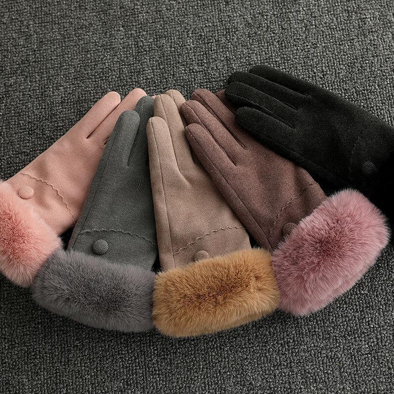 Fausse fourrure Furry complet Finger Gants Femmes solides Gants Couleur chaud Femme d'hiver mitaines Épaissir chaud main Guantes