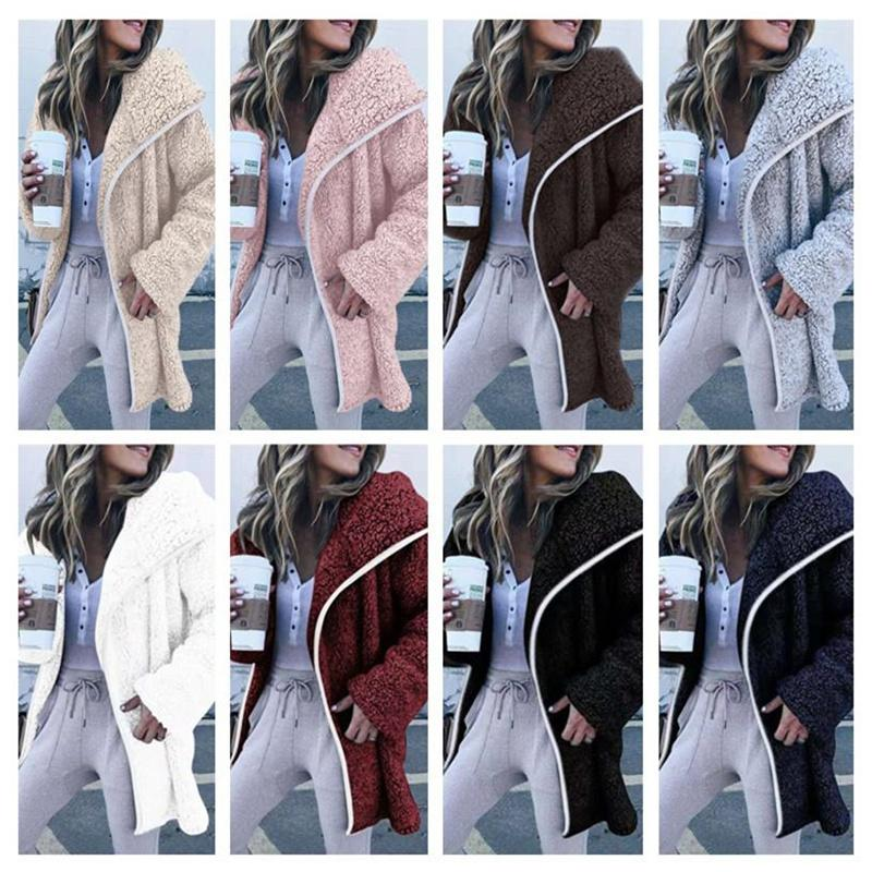 Damen Sherpa Langmantel Plüsch Fleece Jacke Outwear Abzugskragen Cardigan Mäntel Winter Warme Jacken Übergroße Sweatshirt Tops Kleidung