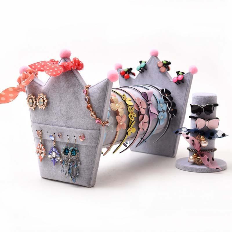 Bijoux cheveux hoop couronne cadre affichage cadre puffable boucles d'oreilles goujon bijoux montres rangement étagère étagère