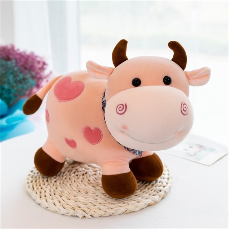 25cm Plüschspielwaren Nette Milchkuh Gefüllte Tiere Weiche Spielzeug für Kinder Rinder Plüsch Puppe Baby Schlafspielzeug Kinder Mädchen Geburtstagsgeschenk 201214