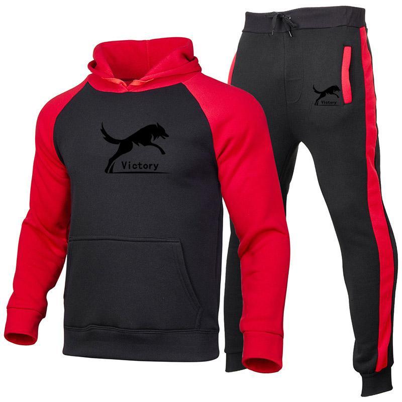 Vêtements de marque Tracksuit pour hommes Automne Hiver Sweat à capuche + pantalon Deux pièces Ensembles Casual Sportswear masculin