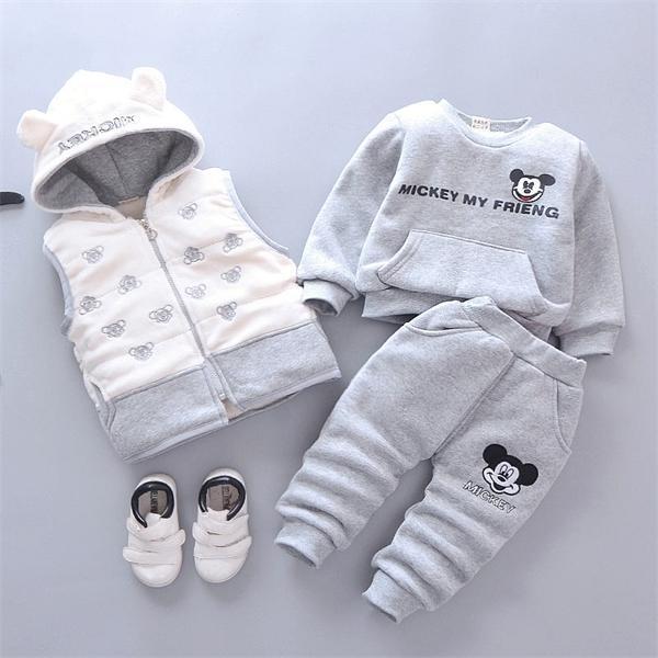 Muchachas de los bebés de Navidad otoño invierno de la historieta caliente chaleco de la capa + la camiseta + pantalones 3pcs infante infantil juego de los deportes ropa X0923