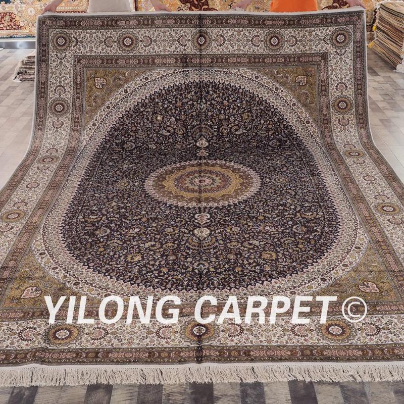Bleu Handwoven turc Yilong 9'x12 médaillon Tapis exquis en soie Tapis (YHW363A9x12)
