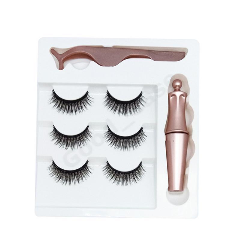 3sets Magnetic Eyelashes False Lashes + Liquid Magnetic Eyeliner+Tweezer Eye makeup set 3D Magnet False Eyelash Cosmetics Tools F101907