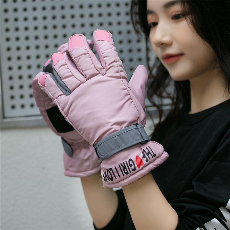Ski gloves in women's lovely, plush, warm, waterproof, cold proof, autumn and winter men's motorcycle riding