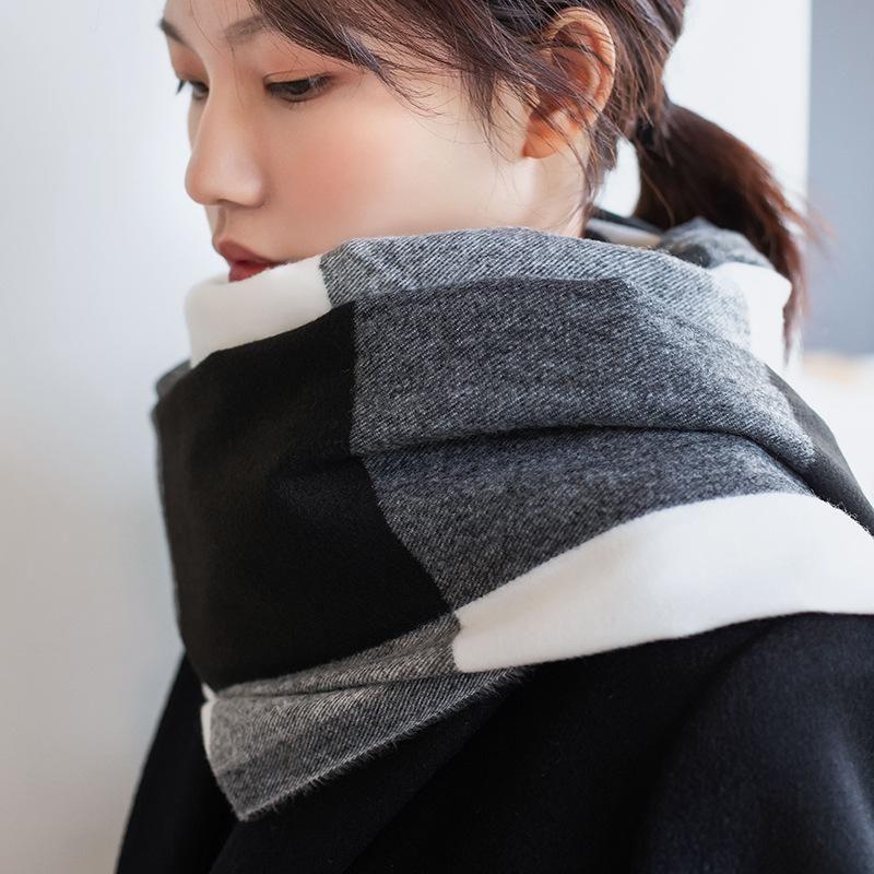 Hot Sale-new Winter Women Scarf Fashion Plaid Cashmere Neck Scarves Shawls Lady Foulard Femme Bandana Triangle Bandage