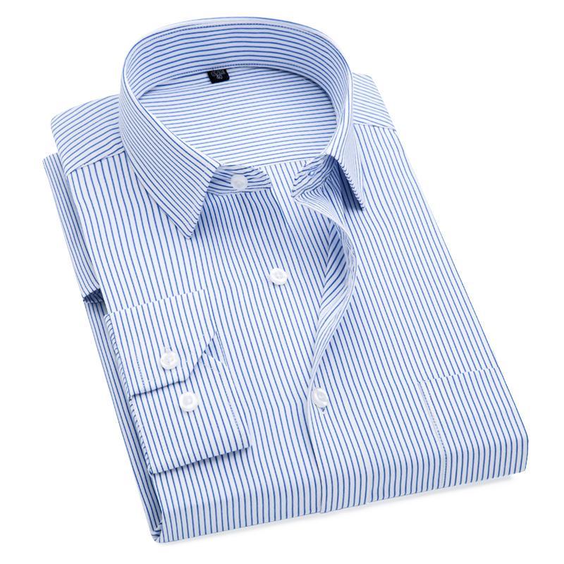 Plus Размер S до 8xL Формальные рубашки для мужчин полосатые с длинными рукавами, не железными стройными рубашками. LJ200925