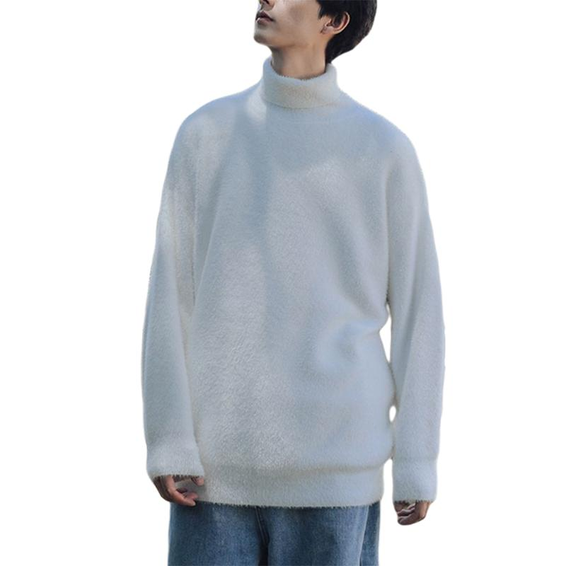 Turtleneck Mens Sweaters Casual Solid Color Pullover Men Sweaters Men Clothes Cashmere