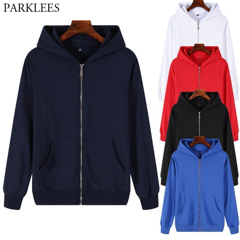 Fashion Zipper Men Hoodies Sweatshirts Loose Casual Men Coat Cotton Solid Hoodie Black Hoodie Mens/Women Clothing streetwear