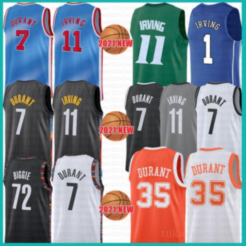2021 New Kevin Basketball Jersey 7 Durant Kyrie Mens 11 Irving Mesh 72 Biggie Retro Cheap Cinza