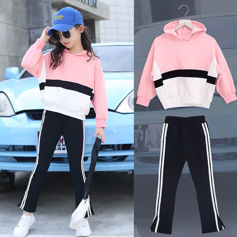 Sets Mädchen-Kleidung Herbst Kinderbekleidung Set Sweatshirt + Pants zweiteilige beiläufige Kinder-Sport-Anzüge Teenage 6 8 9 10 12 Jahre 201023