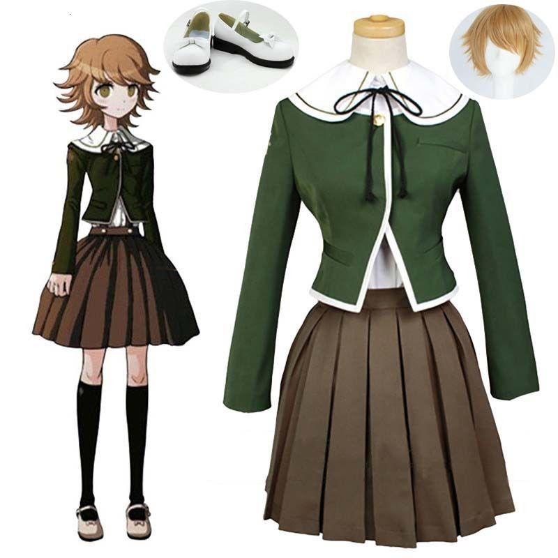Danganronpa1 Trigger Happy Havoc Chihiro Fujisaki Cosplay for Halloween Party Uniform Outfit
