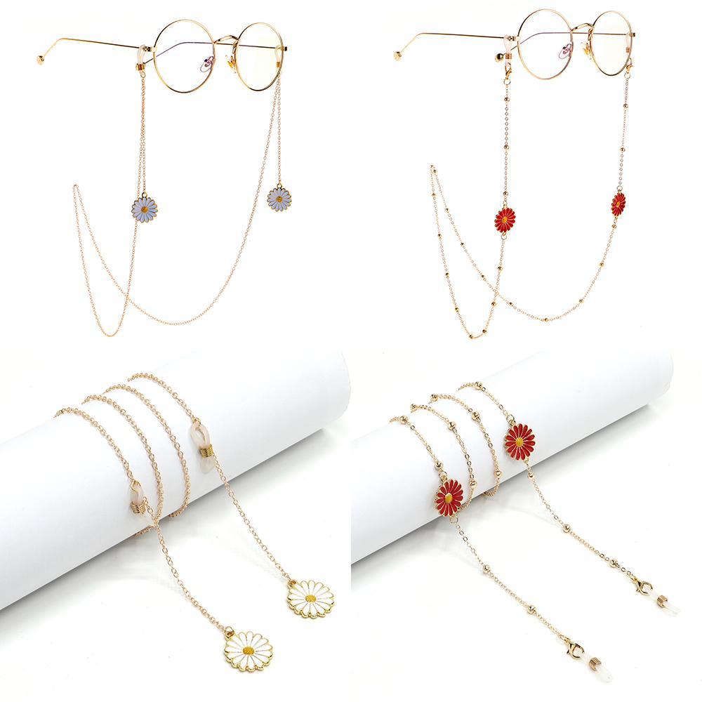 Kadınlar Gözlük Cord için Moda Okuma Gözlüğü Zincir Şık Metal Emaye Ayçiçeği Papatya Güneş Zinciri