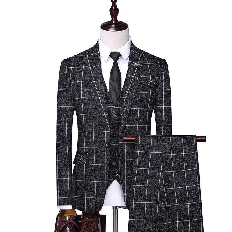 Smoking Slim Fit Costume 3 Piece Blazer Hommes Veste Pantalon élégant pantalon conception de mariage Groom Costume Hommes Bureau Tenue de soirée Suite 4XL