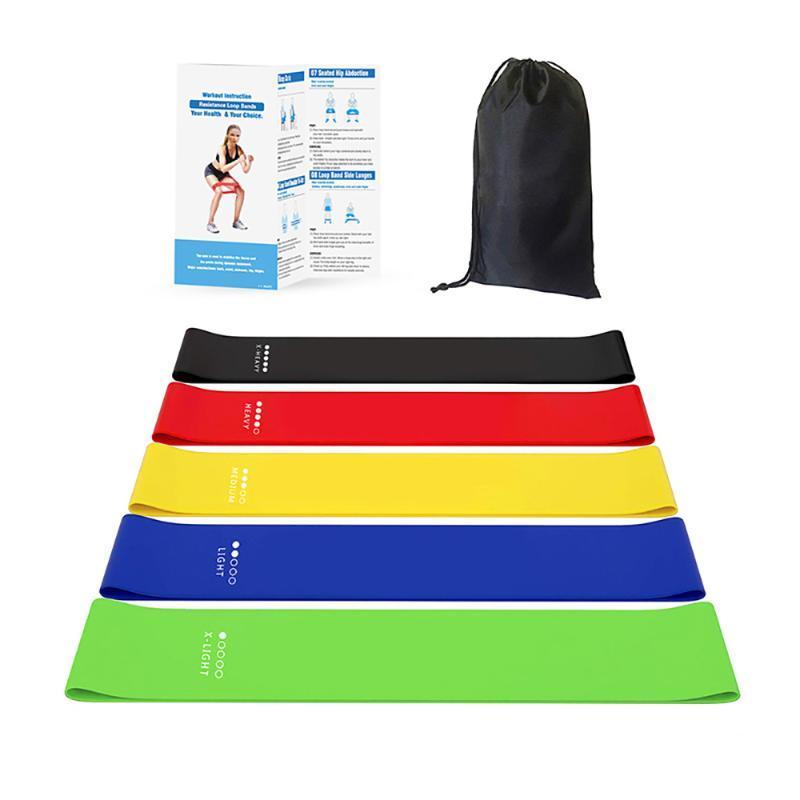 Widerstandsschleifenbänder Set 5 Trainingsbänder Fitnessgeräte Übung mit Tragetasche für Beine Buarmas Yoga Fitness Pilates