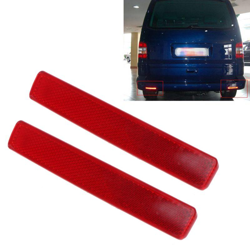 2Pcs Rear Bumper Reflectors Left And Right Red Lamp Car Tail Braking Warning Spare Parts Turn Signals For VW Transporter T5