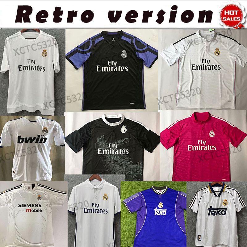 Real Madrid Retro collection 17/18 14/15 94/96 Maillot de football RONALDO RAUL MIJATOVIC BALE maison loin des uniformes de football avec la police originale